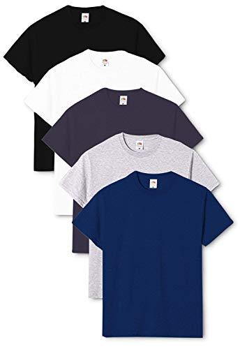Fruit of the Loom Original - Camiseta de hombre cuello redondo (pack de 5) Negro/Blanco/Azul Marino/Gris jaspeado/Azul Marino L