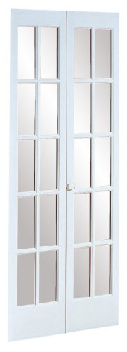 Pinecroft 852726WT Traditional Divided Glass French Bifold Intior Wood Door, 30