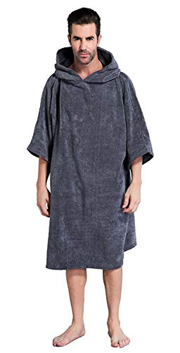 Winthome Changing Bath Robe, Surf Poncho Towel with hooded (grey, M)
