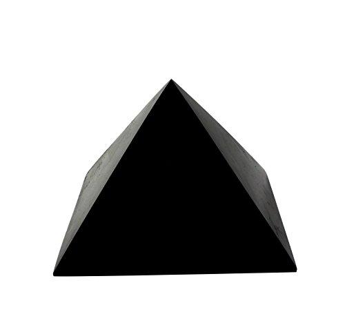 Polierte Shungit-Pyramide 15 cm, Enthält Fullerene für EMF-Schutz | Authentischer Anti-Strahlungs-Shungit Steinfigur aus Karelien, Russland | 15 cm Pyramide, Poliert