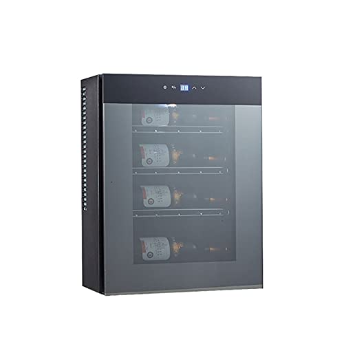 QIU 4 Bottle Wine Cooler, Built-In Thermostat Fridge, Digital Touch Screen Controls & LED Light, Low Energy A, Black Wine Cooler with Transparent Glass Door