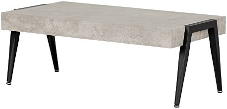 Best South Shore Industrial Coffee Table with Metal Legs, Gray & Black