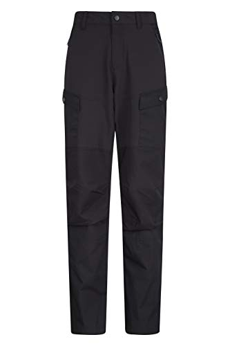 Mountain Warehouse Expedition Hybrid Womens Trousers - Long Length Ladies Pants, Rip Stop, Windproof, Water Resistant - Best for Walking, Hiking, Outdoors & Trekking Noir 40