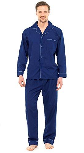 Pflegeleichtes Baumwollmischgewebe, klassischer, langer Pyjama für Herren Gr. X-Large, navy