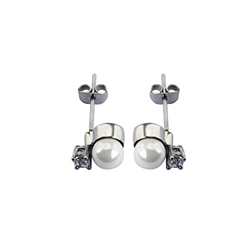 Perlen Magnet Ohrstecker weiß Energetix 4you 224P Retro Style medizinischer Edelstahl nickelfrei allergiefrei veredelt mit funkelnden Swarovski Kristall