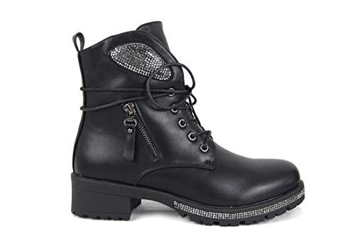 irisaa Damen Stiefeletten Strass Schnür Worker Boots, Schuhgröße 36-41:36, Winterschuhe Farbe 2019:Schwarz-Klassik