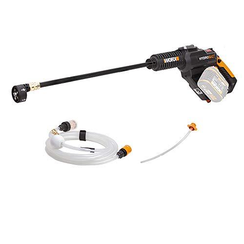 Worx WG630E.9 Accu Hydroshot 20V – mobiele hogedrukreiniger incl. 6 m slang, verlenging voor lans, flessenadapter, snelkoppeling-zonder accu & oplader, 20 V, zwart, oranje