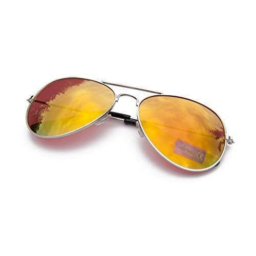 Sunglasses Designer Unisex Mirrored Classic UV400 Shades Mens Ladies Fashion (Silver Frame Orange Mirror)