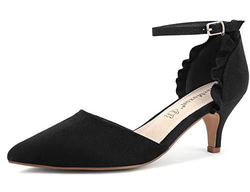 MaxMuxun Zapatos de Tacón Punta Cerrada Negro Diseño Elegante Modo para Fiesta...