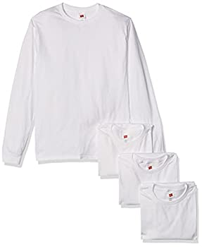Hanes Men s Essentials Long Sleeve T-shirt Value Pack  4-pack  White Medium