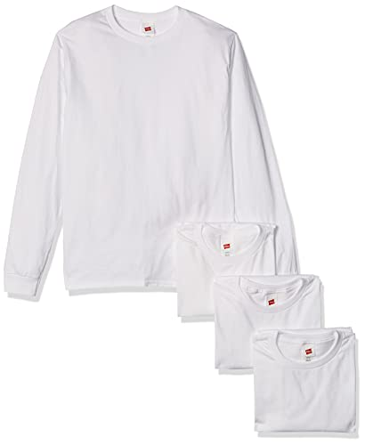 Hanes Men's Essentials Long Sleeve T-Shirt Value Pack (4-Pack), White, Medium