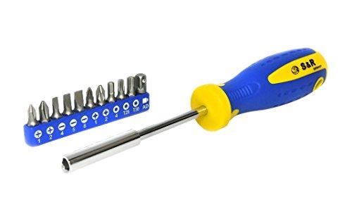 S&R 250 011 100 - Destornillador Portapuntas magnetico y de 12 puntas destornilladores, 210 mm
