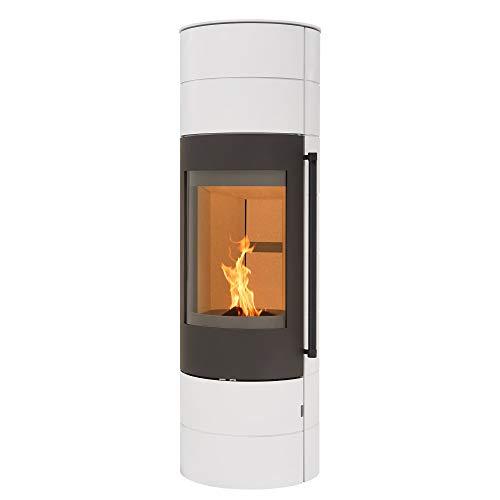 H&M Kaminofen EVO 3.0 XL Stahl Weiß Ofen Heizofen modernes Segment-Design 7kW Holzofen Speicherofen rund Holzkamin mit großer Sichtscheibe und Gussboden