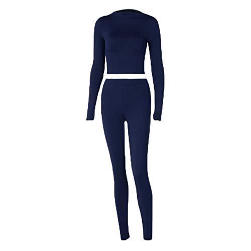 Carolilly Conjunto de 2 piezas de mujer casual de mujer ajustado, camiseta de manga larga con cuello alto + pantalones de chándal deportivo para yoga de color liso azul oscuro M