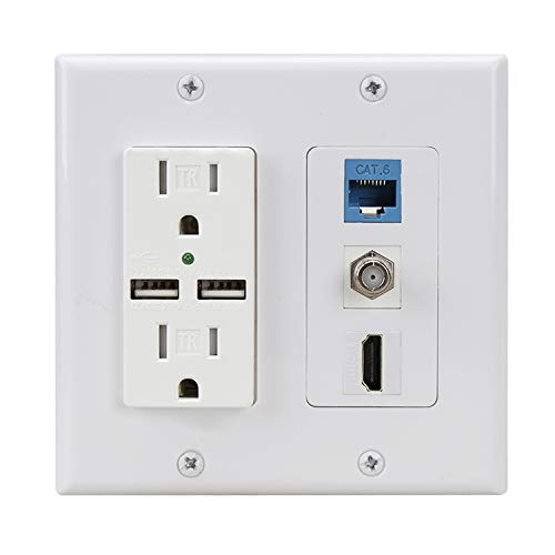 Hdmi USB Outlet Charger Wall Plate,2 Power Outlet 15A with Dual 2.1A USB Charger Port,PHIZLI 1 HDMI HDTV + 1 CAT6 RJ45 Ethernet + Coaxial Cable TV F Type Keystone Face Plate White