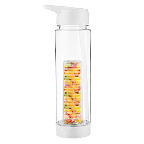 FBGood Sport Fruit Botella de agua – Botella de deporte transparente sin BPA con infusor de frutas, botella ecológica, frutas, infusiones BPA-Free (blanco)