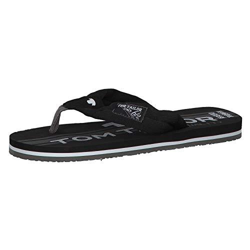 TOM TAILOR für Männer Schuhe Zehentrenner black-grey, 44