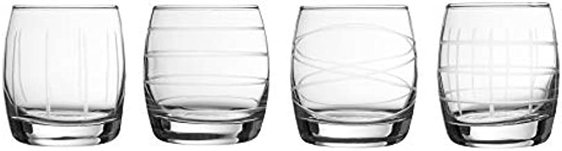 Fifth Avenue Crystal Medallion Set of 4 Stemless Elegant Lead-Free Matching Drinkware Perfect for Everyday Use Or Entertaining – Stylish Modern Glasses-an Ideal Gift, 10.2 oz, Clear