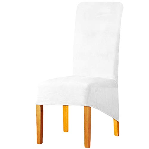 KELUINA XL Fundas para sillas de Terciopelo Felpa para sillas de Comedor, Fundas para sillas elásticas, tronas de Spandex, Fundas Protectoras con elástico para Comedor (Blanco Natural, 4 Piezas)