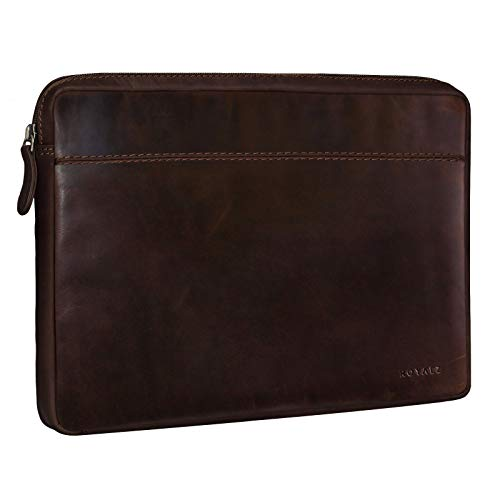 ROYALZ Vintage Schutztasche für Asus Zenbook 3 Deluxe Tasche Leder (UX490UA) (14 Zoll) Lederhülle Cover Ledertasche Hülle Schutzhülle Sleeve Etui Mappe Retro Leder, Farbe:Dunkel Cognac Braun
