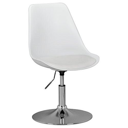 Amstyle Design Design Sedia Girevole, Similpelle, Bianco, 46 x 46 x 76 cm