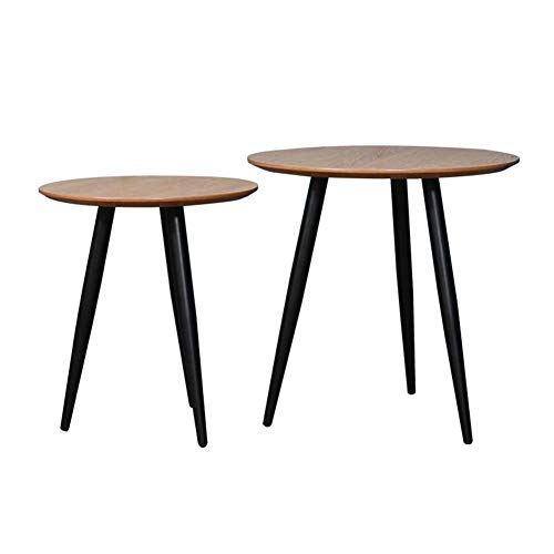 Nordic Solid Wood Round Coffee Table, Home Multi Function Modern End Tables, Occasional Tea Tables Nesting Tables for Balcony and Living Room Set of 2,Home/Office