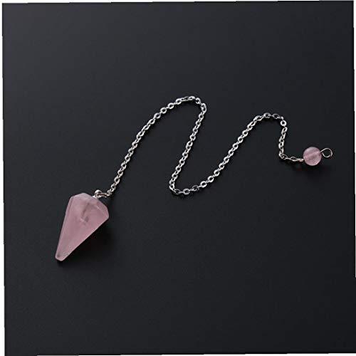 1pc Piedra Natural Reiki Healing Péndulo Amuleto Colgante de Cristal de la Piedra Preciosa de la Roca Hexagonal Pirámide de Cuarzo Rosa