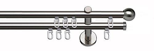 indeko COLUMBES, Gardinenstange mit Innenlauf Ø 16 mm auf Maß, 2-Lauf, edelstahloptik, Komplettset mit Zubehör