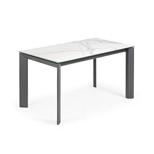 Kave Home - Mesa de Comedor Extensible Axis Rectangular 140 (200) x 90 cm de Porcelana Kalos Blanco con Patas de Acero en Grafito