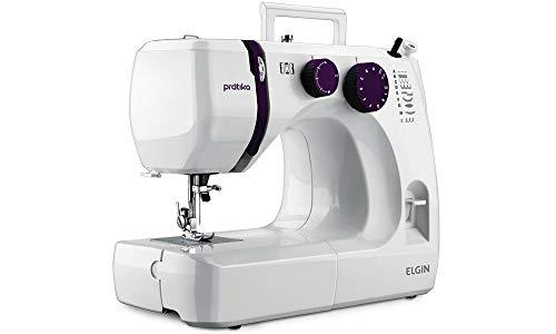 Maquina de Costura Pratika, 110V, Portátil, Versátil, Elgin, Branco / Roxa