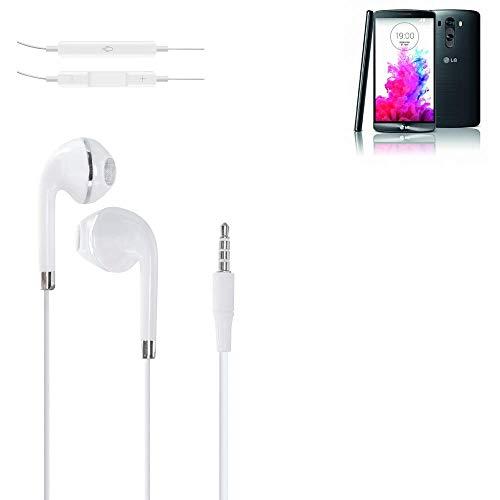 K-S-Trade® Auriculares Headphone P. LG Electronics G3 Screen con Micrófono Y Control De Volumen Blanco Jack De 3.5 Mm Tapones para Los Oídos Headset Espárragos Headphone Estéreo
