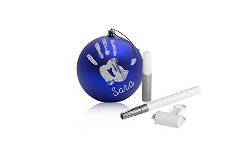zhongshan Wisdom Pallina di Natale in Plastica Decorazione Natalizia per Albero Natale con Kit Impronta e Pennarello Personalizzazione Nome Primo Natale Blu