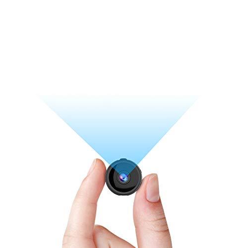 RIRGI Mini Camara Espía Oculta con WiFi Remota, con Detector de Movimiento IR Visión Nocturna, Camaras de Seguridad Pequeña para Interior/Exterior (Negro)