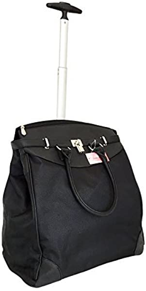 Trendy Flyer Computer Laptop Rolling Bag 2 Wheel Case Plain Black