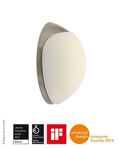 WAGNER Design-Wand-Türstopper - Screw OR Glue/Schrauben oder Kleben - Metall gebürstet, Edelstahloptik, thermoplastischer Kautschuk, weiß, Durchmesser Ø 38 x 16 mm, Designpreis - 15513011
