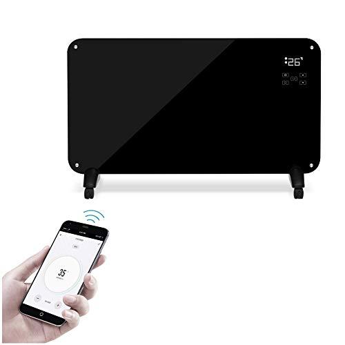 BUKEHANWEI Chauffage Electrique Mobile, Radiateur Inertie Intelligent Mural, Convecteur Chauffe Plat Economique 2000W, ContrôLe Smartphone WiFi, avec Minuterie et Thermostat (Color : Noir)