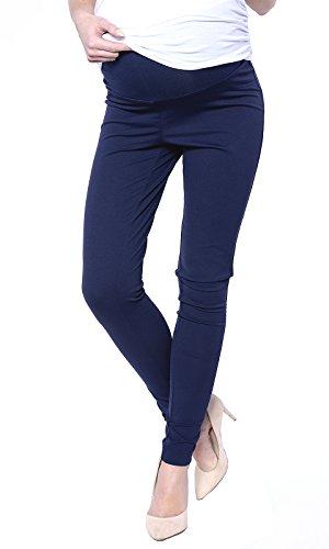 Mija - Elegante Damen Slim Umstandshose mit Bauchband 1046 (EU36 / S, Marineblau)