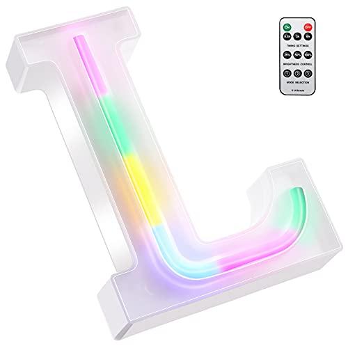 Luces LED de Letras Coloridas, Señal de Neón de 26 Alfabeto Luces de Número de Marquesina con Control Remoto Lámparas de Brillo Alimentadas por 2 Pilas AAA para Pared de Hogar (Letra L)