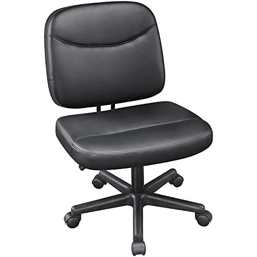 Yaheetech Bürostuhl ohne Armlehnen Schreibtischstuhl Drehstuhl aus Kunstleder Bürodrehstuhl stufenlos höhenverstellbar, Chefsessel Belastbar bis 125 kg extra breit Platzsparend