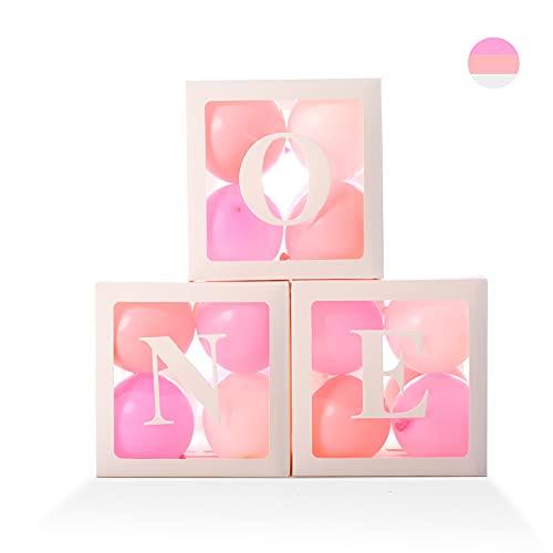 Erster Geburtstag Ballonboxen für Mädchen, Transparente 'ONE' Ballonblöcke mit 24 Stück Ballons - Baby 1. Geburtstag Junge Dekorationen Clear Cube Blocks Erster Geburtstag Dekorationen Hintergrund