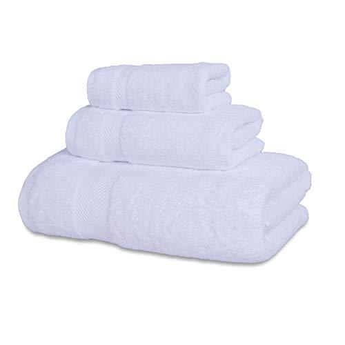 Heliansheng Juego de Toallas Suaves, Toalla de baño de algodón Puro, Hotel de Calidad de baño súper Absorbente - Blanco-3pcs