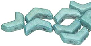 30 Chevron Duo Czech Glass Beads. Huge Selection of Colors and FINISHES (White Blue Luster)