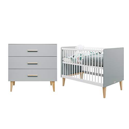 Lit bébé 60x120 et commode à langer 3 tiroirs Emma - Blanc et gris