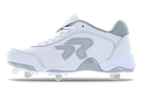 Ringor - Women's Dynasty 2.0 Spike Softball Cleats (6.5 White/Silver)