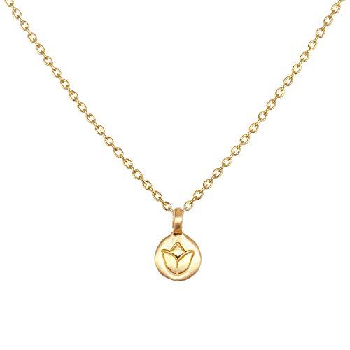 Satya Jewelry Kette Damen Gold - New Beginnings Necklace Mini Coin Anhänger Lotus Blüte - ca. 45 cm lang Silber 925 Vergoldet - NG207-L-18-B-NB