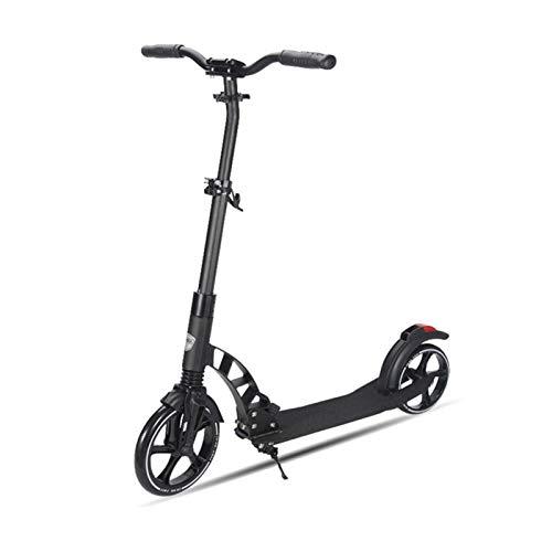 Youpin Patinete plegable de aleación de aluminio para adultos y niños, con ruedas grandes, 2 ruedas, para adolescentes y adolescentes (color: negro)