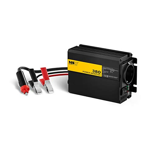 MSW Onduleur Voiture Convertisseur Transformateur Auto Automobile MSW-CPI380MS (Sinus Modifié, 12V/230V, 380W, USB, Branchement Batterie/Allume Cigares)