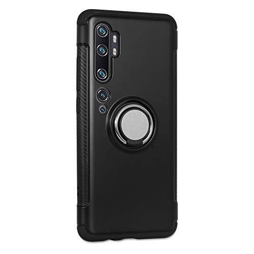 LFDZ Funda Xiaomi Mi CC9 Pro, 360 Grados Giratorio Ring Grip con Gel TPU Case Carcasa Fundas para Xiaomi Mi CC9 Pro/Mi Note 10 / Mi Note 10 Pro Smartphone,Negro