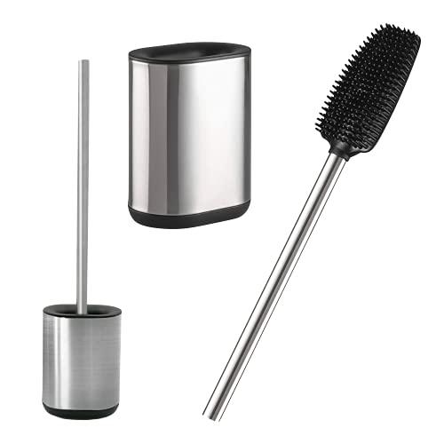 Toilettenbürste, Edelstahl – WC Bürste, Premium Silikon-Bürste, inkl. Behälter, Flexibel, Modern & Elegant