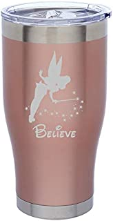 Rose Gold Double Wall Vacuum Insulated Stainless Steel Tumbler Travel Mug Fairy Believe (24 oz)